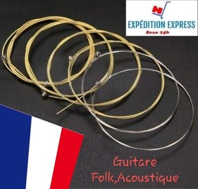 Set jeu de 6 cordes guitare acoustique BRONZE .