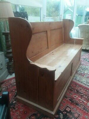Large Solid Pine Country Farmhouse Settle