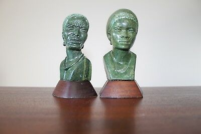 """Two South African busts (hard stone), by """"Noel Fombe"""""""