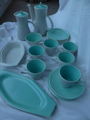 Vintage Poole Pottery tea/coffee set in Twintone Ice Green and Seagull Grey