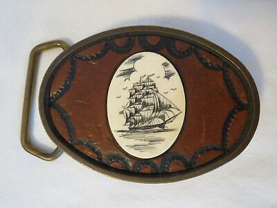 Vintage BTS Belt Buckle Solid Brass Scrimshaw Engraved 1978