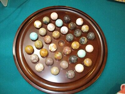 Solitaire Wooden Board Game by Bombay Semi-Precious Stone Marbles 1 1/8 Inch