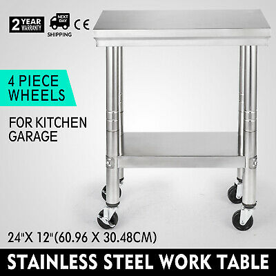 "24""x12""Stainless Steel Work Bench Kitchen Catering Table Commercial Worktop"