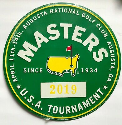 2019 Masters golf bar pub sign Tiger Woods augusta national round badge style