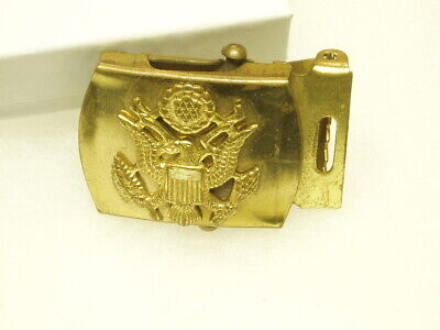 Vintage US Military Solid Brass Belt Buckle Eagle & Shield