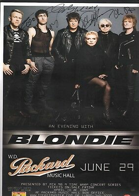 Blondie. Autographed original concert poster. Signed by Debbie Harry + 4 others.
