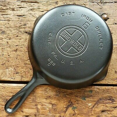 Vintage GRISWOLD Cast Iron SKILLET Frying Pan # 6 LARGE BLOCK LOGO - Ironspoon