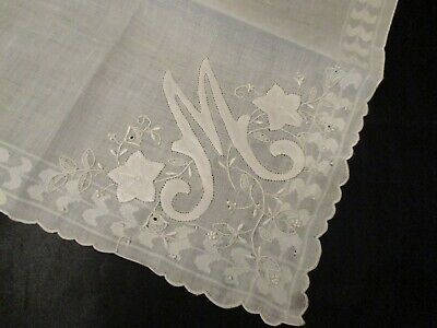 Vintage Madeira Embroidered Monogram White M linen hanky sticker in place