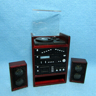 Dollhouse Miniature Music Stereo with Record Player & Speakers ~ T3258