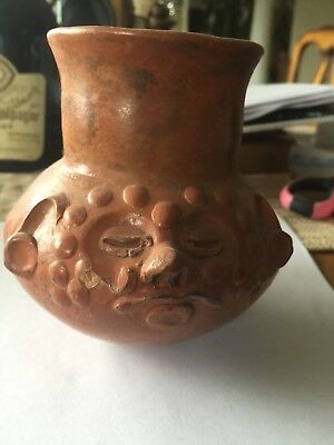 Antique Pre Columbian  Pottery Jar Unique Design