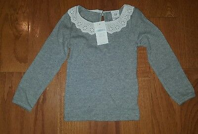 baby gap girls 12-18 months  long sleeves shirt gray with colar