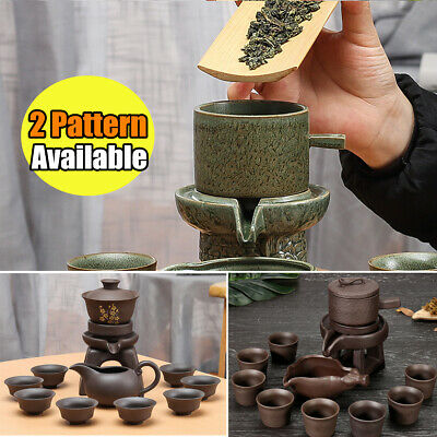 11PCS Chinese Kung Fu Infuser Tea Set Semi-automatic Purple Clay Teapot Pot Cup
