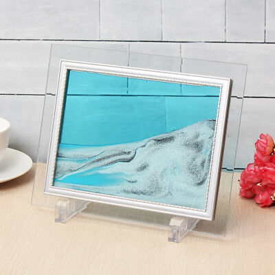 Framed Moving Sand Glass Picture Home Office Table Desk Decor Art Craft Gift
