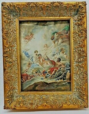 Antique Art Deco Hand Painted French Painting On Carved Panel Of Venus Signed