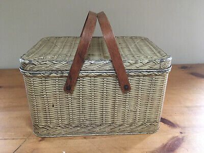 Vintage! Decoware, Tin Litho Picnic Basket, Wood Handles Metal Faux Wicker Weave