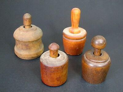 Lot of 4 Antique Wooden Butter Stamp Press Molds