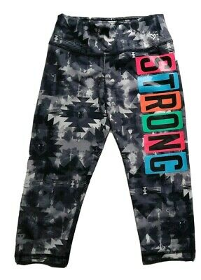 Justice Girls Dance Leggings Capri Strong 10 athletic gray pink athletic workout