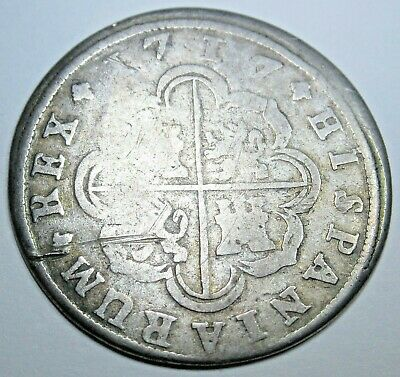 1717 Spanish Silver 2 Reales Piece of 8 Real Antique Colonial Era Two Bits Coin