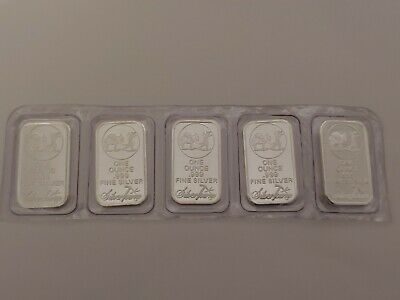 1 oz .999 fine silver bar by Silvertowne (Lot of 5 bars)