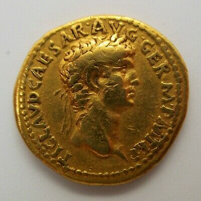 41-54 AD Ancient Roman CLAUDIUS Gold Coin AV AUREUS Rome RIC I 15 Stacks RARE R2