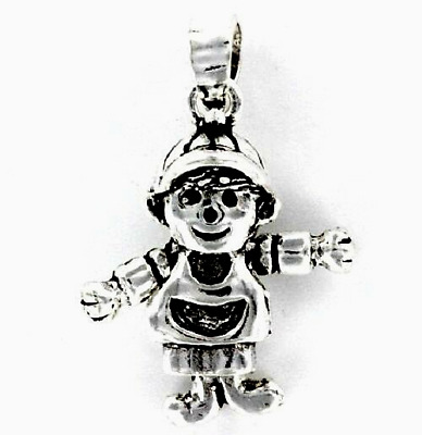 Little Boy Sterling Silver Pendant - 3/4 Inch Tall  .925 Pure Silver