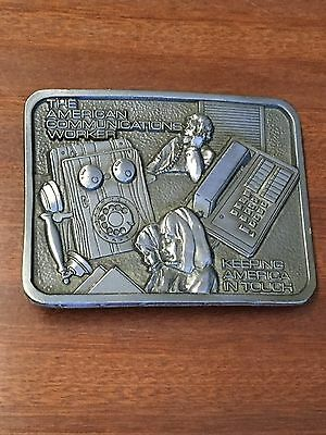 American Communications Worker Belt Buckle/ Made In Usa.