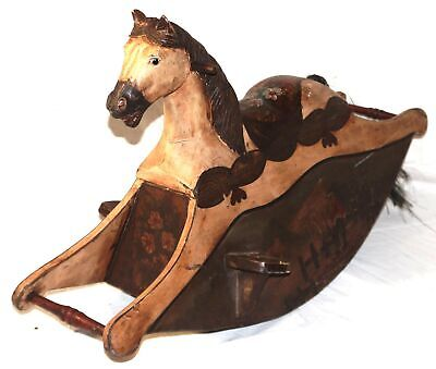 Antique Large Children's Wood Toy Painted Carousel Rocking Horse No Reserve