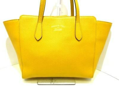 0e456ee2eb29f6 AUTH GUCCI GUCCI Swing 354408 Women's Leather Canvas Tote Bag Yellow ...