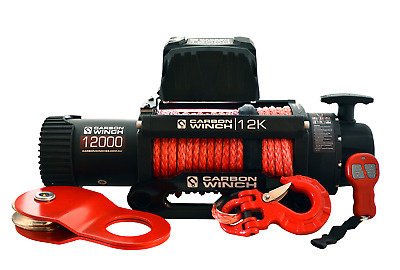 CARBON ELECTRIC WINCH WITH synthetic ROPE 12K 12000lb TURBO DIESEL4X4