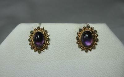 Victorian Earrings Amethyst Etruscan 9K Gold Lovely Antique Earring