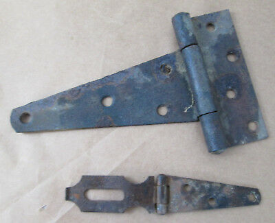 "8"" HEAVY Antique Barn Shed Door Bulk Head FLUSH/FLAT HINGE & 6"" Latch Lock"