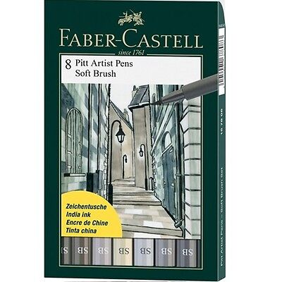 FABER-CASTELL 8 PITT Artist Pens 8 PC BOX SET Shades Of Grey