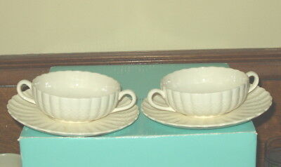 TWO Spode Chelsea Wicker Cream Soup Bowls and Saucers (4 Pieces)