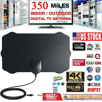ViewTV Flat HD Digital Indoor TV Antenna 350 Miles Range 1080P Signal Booster US