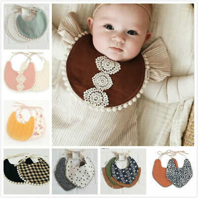 1PC Newborn Cotton Baby Bibs Lace Saliva Towel Kids Bib Available both sides