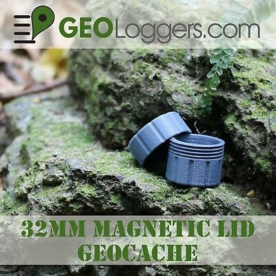 *NEW* 32mm Magnetic Hanging Waterproof Geocache Container +3 Cache Log Sheets!