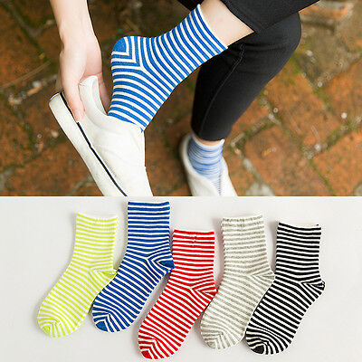 5 Pairs Girls Womens Combed Cotton Socks Fashion Color Stripe Casual Dress Socks