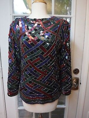 Swee Lo 100%Silk Sequined Beaded Crewneck Evening Blouse Women's S *Excellent*
