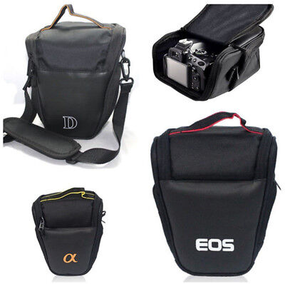 Zippered Black Triangle Camera Shoulder Bag Pouch For Canon Sony Nikon Universal