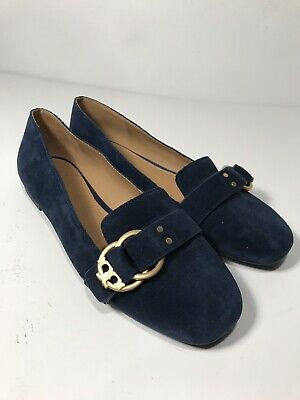 d4313897c83 Tory Burch Marsden Slipper Suede Logo Blue Loafer Flat 7.5