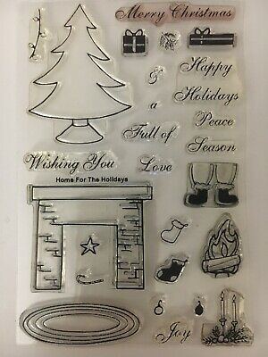 220396d34492 MFT My Favorite Things Clear Stamps HOME FOR THE HOLIDAYS 4 X 6 Rare Retired