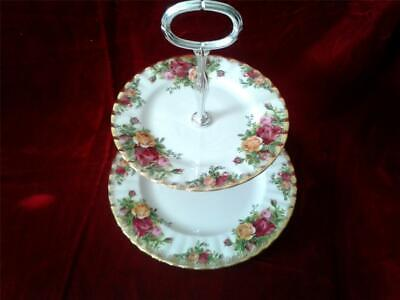 Royal Albert Old Country Roses two tier, candy, tidbit dish 22K Gold rim