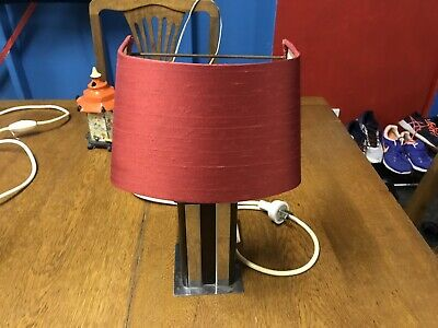 Vintage Art Deco 40s 50s Bakelite Lamp,Table Bedside Lamp, Red Silk Shades