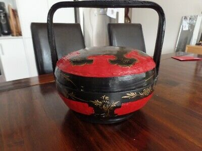 Vintage Red and Black Lacquer Chinese Wedding Basket from SE Asia