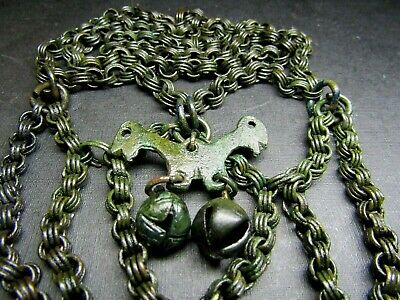 Ancient  Bronze Viking Chain Decoration.Bell. Pendant.