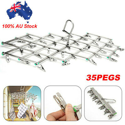 35 Pegs Stainless Steel Dryer Foldable Sock Clothes Airer Folding Hanger Rack AU