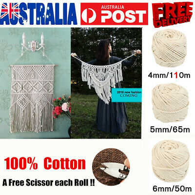 2Pcs 4/5/6mm Macrame Rope Natural Beige Cotton Twisted Cord Artisan Hand Craft A