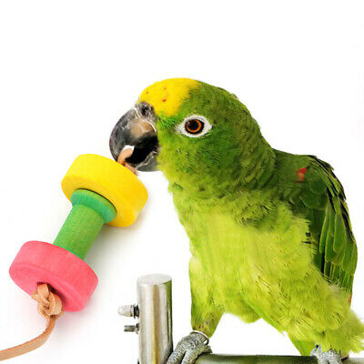 Parrot Pet Bird Dumbbells Chew Toys Wood For Parakeet Cockatiel Funny Cage Toy