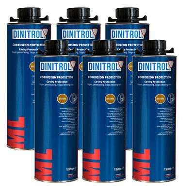 6 x DINITROL ML3125 RUST PROOFING CAVITY WAX 1LITRE CAN BOX SECTION DOOR CHASSIS