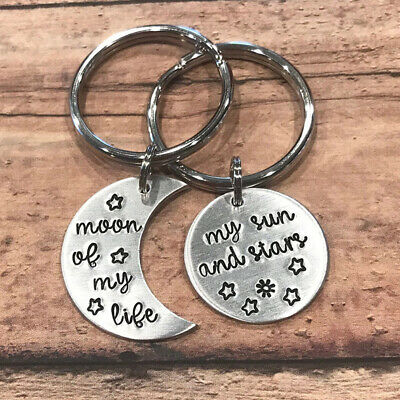 """Keychain """"Moon of My Life, My Sun and Stars"""" Gift Lovers Couple Accessories G"""